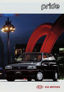 Kia-Pride-Prospekt-3-95-1995-brochure-Auto-Autoprospekt-Broschuere-prospetto-Heft