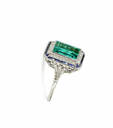 Art Deco 2.95 CT Emerald Cut Green Diamond Engagement Ring 925 Sterling Silver