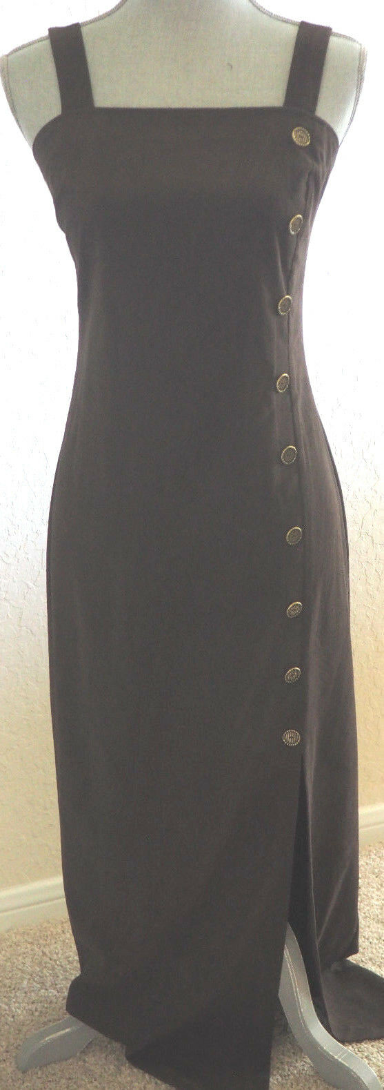 Vintage JOSEPH RIBKOFF braun Long Dress with Jacket - Decorative Buttons - 8