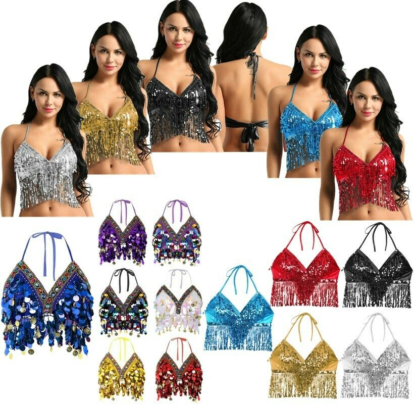 Belly Dance Costume Padded Bra Adjustable Halter Top Sequin Performance Outfits