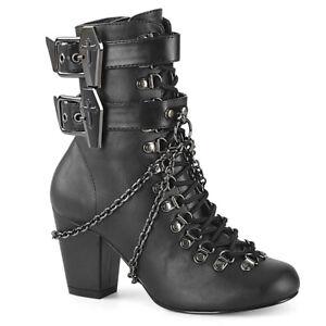 Demonia VIVIKA-128 Matte Black Vegan Leather Block Heel Women's Ankle Boots