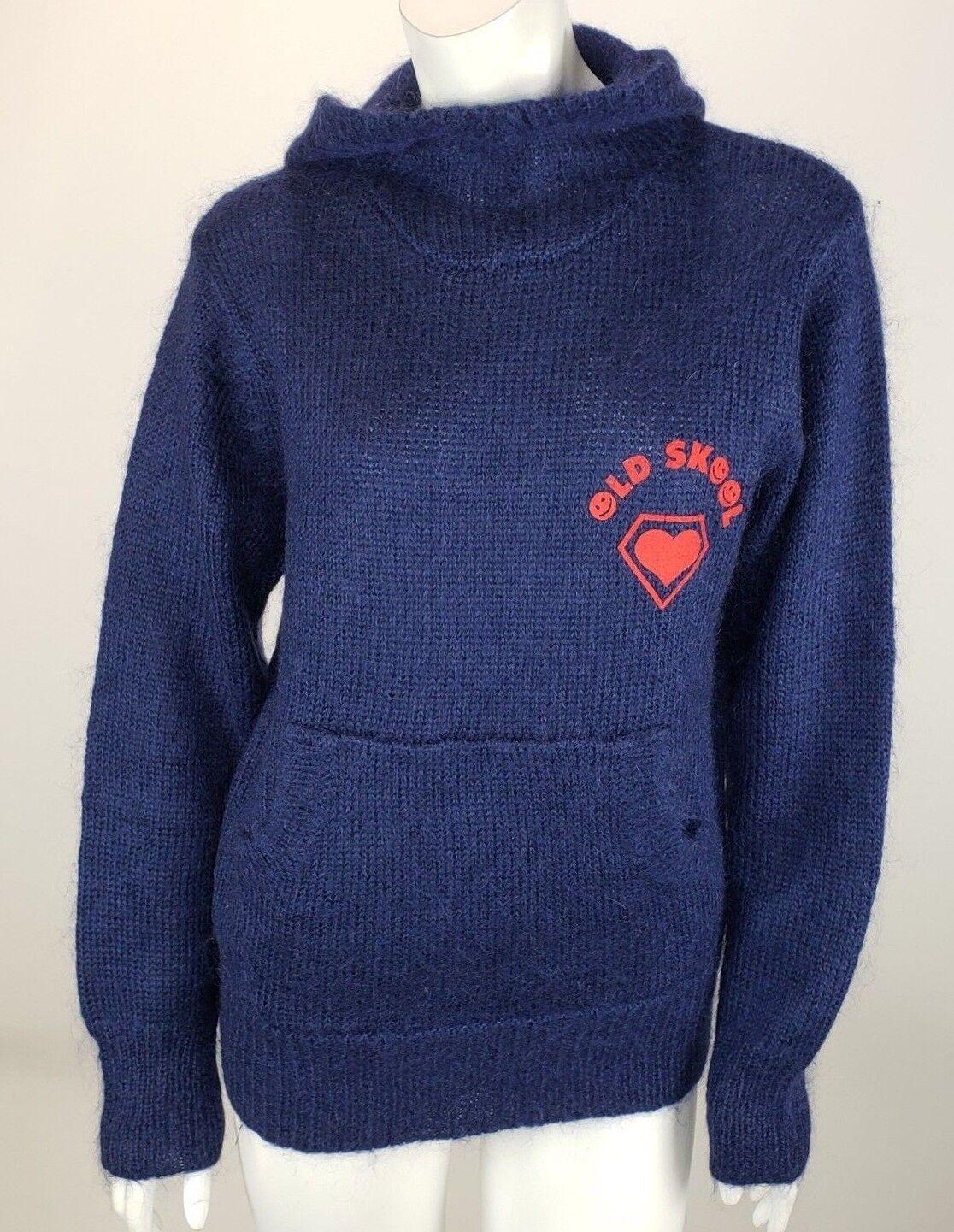 Super Lovers Old Skool Mohair Navy Blau Hoodie Sweater Unisex