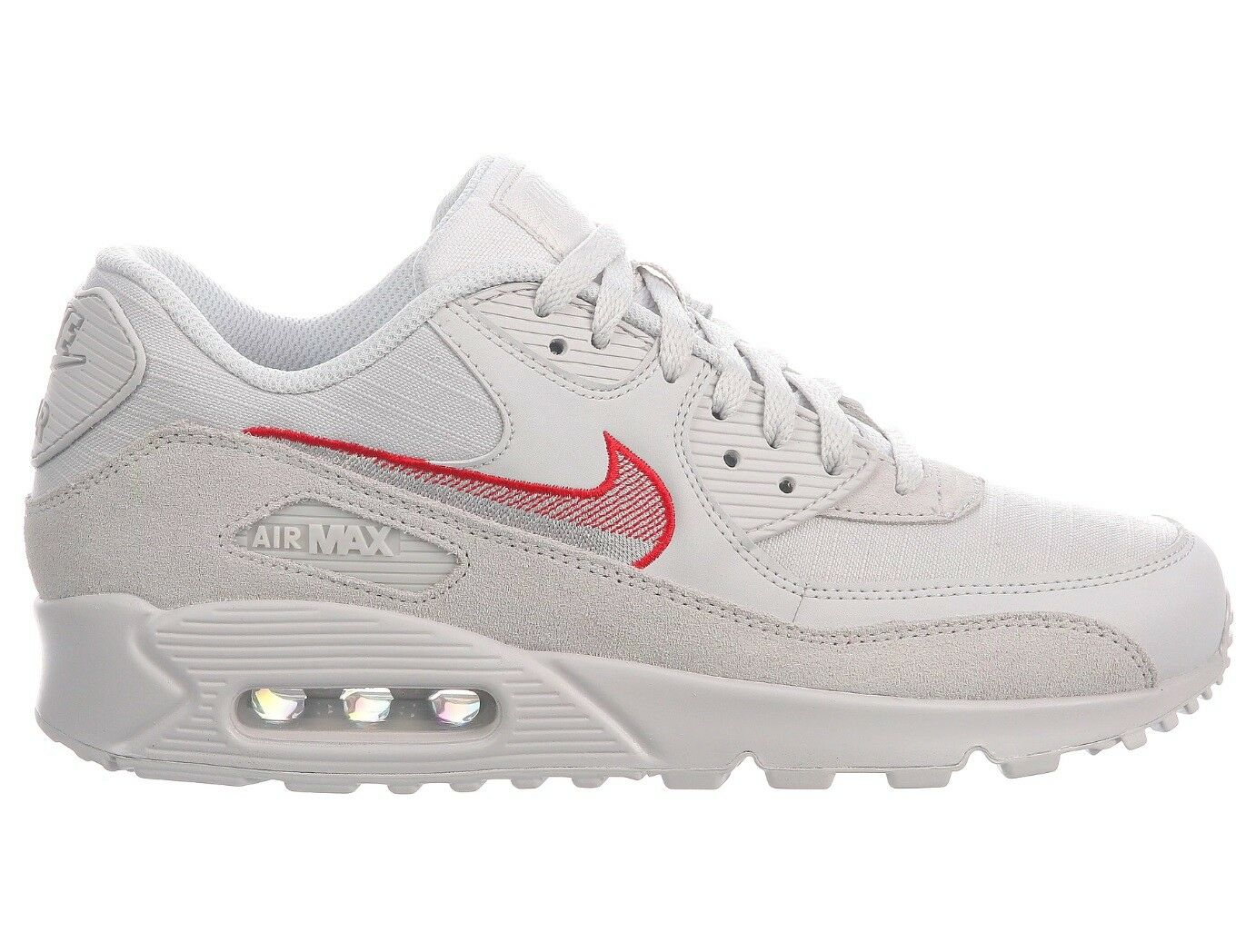 Nike Air Max 90 Leather Mens AH8443-003 Vast Grey Red Running Shoes Size 7.5
