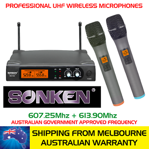 SONKEN-700D-6-2X-PROFESSIONAL-UHF-WIRELESS-MICROPHONES-WITH-LED-DISPLAY-amp-CASE