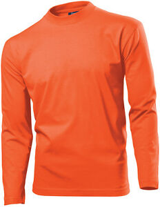 free shipping a7e33 eef52 Dettagli su Hanes Uomo Uomo Arancione di Cotone a Manica Lunga T-Shirt  Tshirt Taglia S
