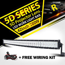 """5D 42""""Inch 560W CREE Curved Led Light Bar Offroad Fit For UTV Polaris RZR XP1K"""