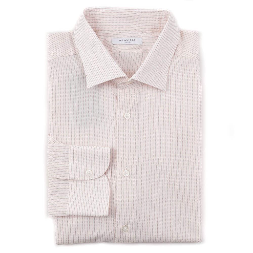 NWT  BOGLIOLI Slim-Fit Cream and Red Stripe Cotton Shirt 17 x 36