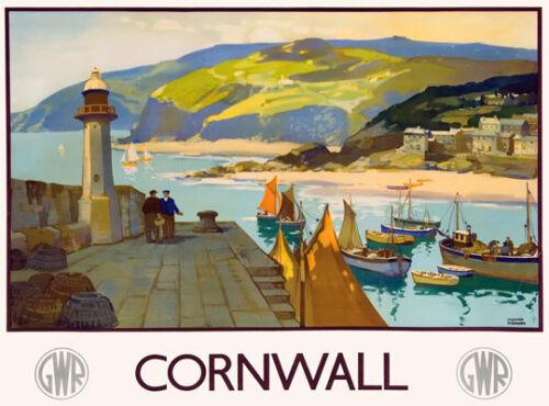 TU80 Vintage GWR Cornwall Great Western Railway Travel Poster Re-Print A4