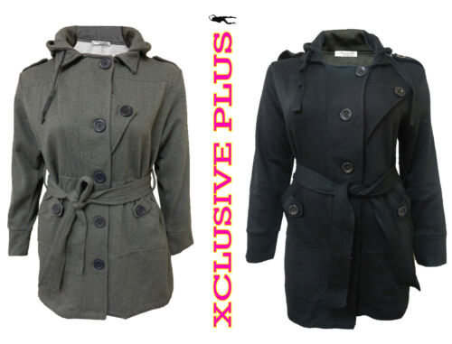 NEW LADIES PLUS SIZE MILITARY JACKET WOMENS BELTED HOODED WINTER COATS 12-26