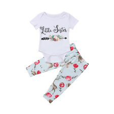 USA Big Little Sister Baby Girl Kids Deer Romper T-shirt Top Matching Outfit Set