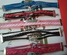 New Wholesale  ladies girls 5 fashion Leather Bracelet job lot uk