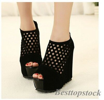 New Sexy Women's Hollow Peep Toe Zip Nightclub High Heel Wedge Party Shoes Size