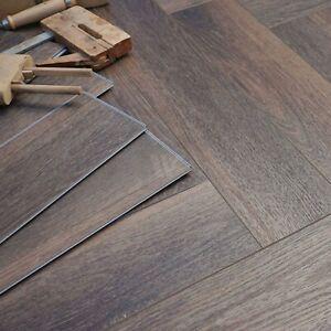 2Ft Chestnut Brown Oak LVT Classic Herringbone   Commercial SPC Stone Core LH75