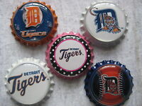 Detroit Tigers Scrapbooking Crafts Bottle Caps Set 10 - Flattened/non Flattened