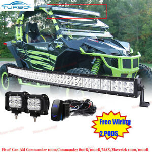 50 Quot Curved Led Light Bar 2x Fog Pods For Can Am Commander