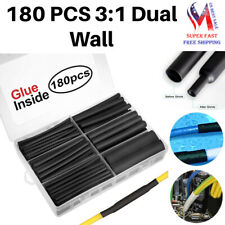 180 Pieces Dual Wall Adhesive Heat Shrink Tubing Kit With Storage Case Black