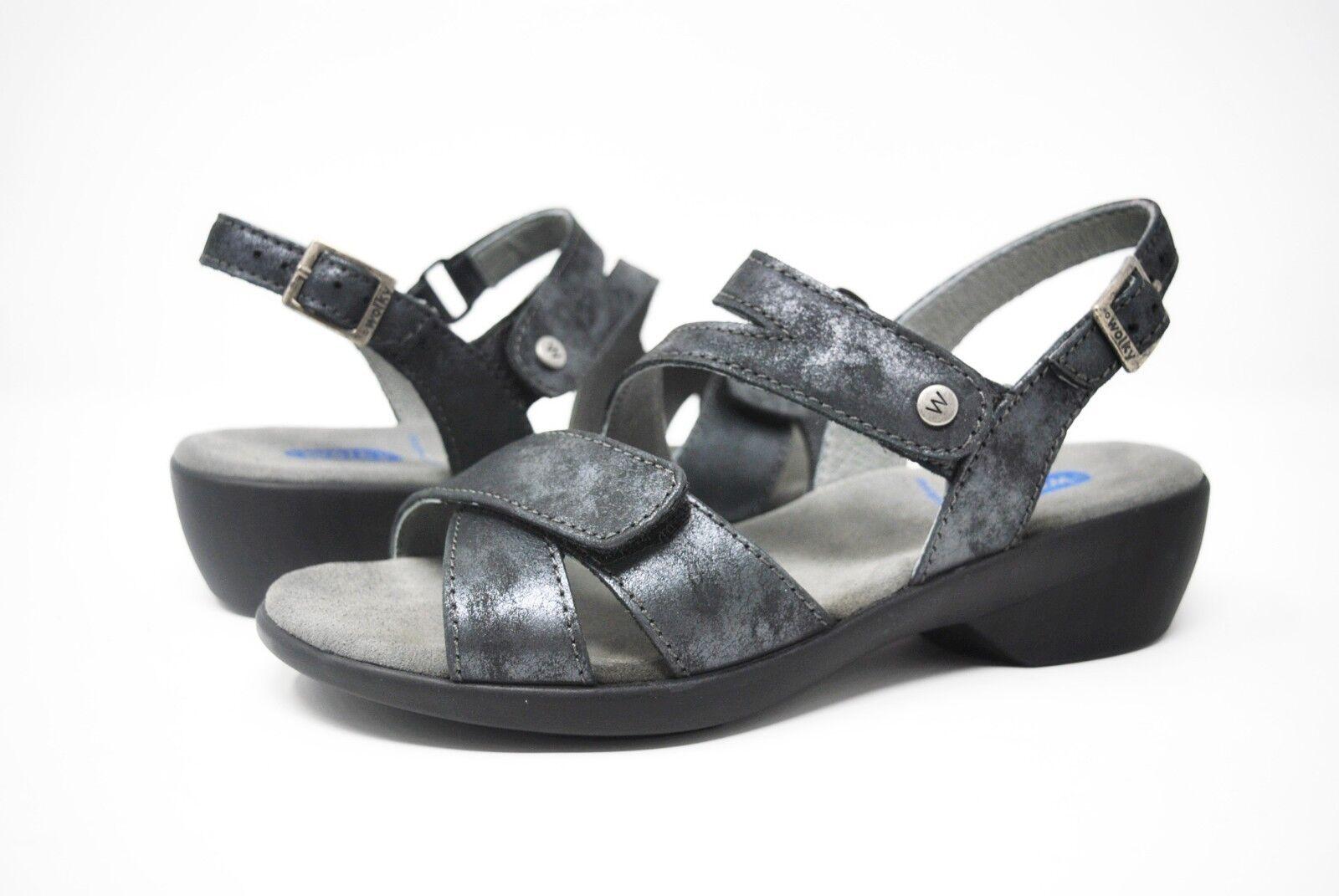 Calvin Klein Nalo Caged Strappy Sandal 7 M Black/White/Le<wbr/>mon E7668  New with Box
