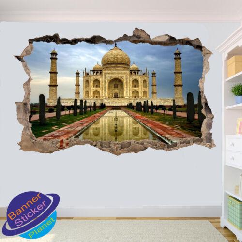 TAJ MAHAL INDIA SCENERY 3D SMASHED WALL STICKER ART ROOM DECOR DECAL MURAL ZE7