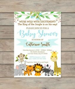 Image Is Loading Custom Jungle Safari Boy Baby Shower Invitation