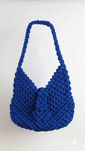 COBALT-BLUE-CROCHET-HANDBAG-Women-039-s-Vintage-is-One-Of-A-Kind-SUPER-RARE