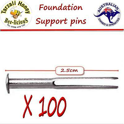 BEES WAX EASY  HONEYCOMB   FOUNDATION PINS WAX FOUNDATION SUPPORT PINS X 100