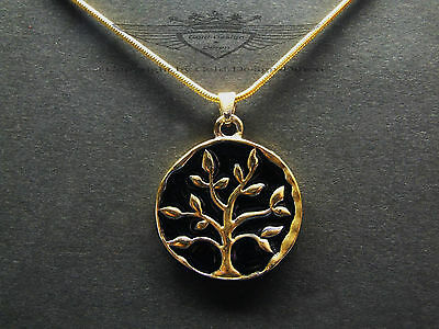 Kettenanhänger, Baum des Lebens, 24 Karat vergoldet, Edel, Gold, Kette