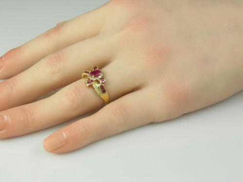 Details about  /2.85Ct 18K Yellow Gold Over Ribbon Bow Estate Fine Red Ruby /& Diamond Ring