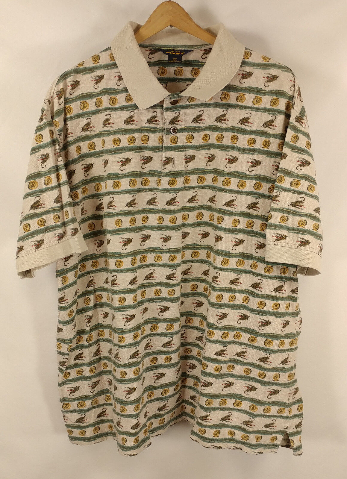 Vintage Woolrich Button Front Pattern Fly Fishing Fisherman Shirt XXL 2XL