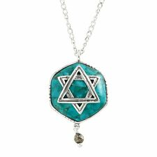 "Silpada 'Mazel Tov' Multi-Stone Star of David Pendant in Silver, 18"" + 2"""