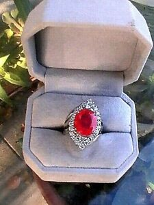 GORGEOUS-Unusual-Estate-Earth-Mined-Ruby-Ring-8-90-CT-Sapphire-14k-925-SZ-7