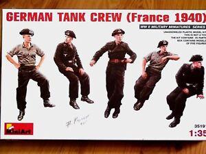 miniart-1-3-5-Aleman-Tanque-Tripulacion-FRANCIA-1940-Figuras-kit-de-modelismo