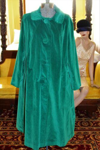 Vintage 1960's MARGUERITE RUBEL Kelly Green Velvet