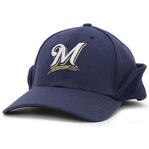 37a38b8200c71 Image is loading Milwaukee-Brewers-Down-Ear-Flap-Downflap-Flipdown-Dogear-