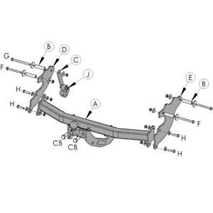 Flange Tow Bar Witter Towbar for Fiat Qubo 2009 On