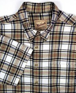 Woolrich-Short-Sleeve-Shirt-Size-L-Large-Blue-amp-Black-Plaid-Button-Down-Collar