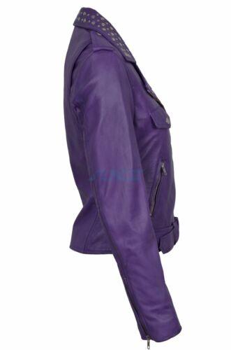 Real Womens Studded Purple Leather Star Rock Cheryl Ladies Knightley Keira Jacke x8nAB