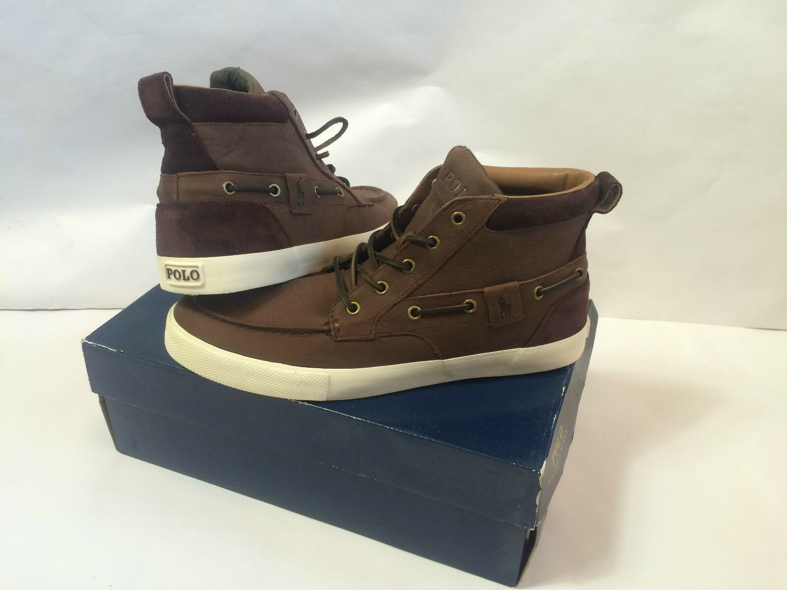 £150 Ralph Lauren mens trainers 11 45 shoes Tristen brown hi tops Leather Suede