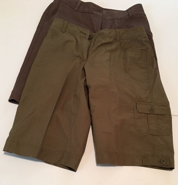 J. Jill Below Waist Fit Short Lot of Two (2) Brown Green Pair 100% Cotton Size 8