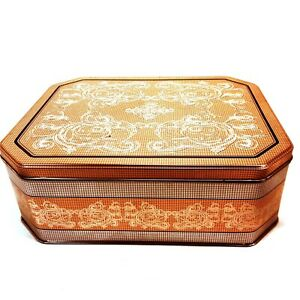 Large-Gold-amp-Silver-Rectangular-Tin-Decorated-w-Ornate-Scrollwork-amp-Designs