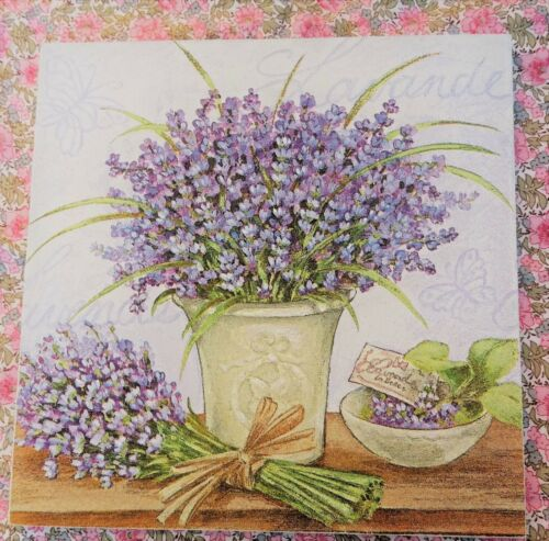 French Lavender Herb Pot Shabby Vintage Chic Wooden Picture Plaque Home Art