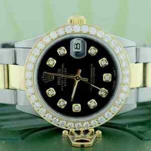 Rolex-Datejust-2-Tone-Gold-Steel-31mm-Oyster-w-Black-Diamond-Dial-amp-1-52Ct-Bezel