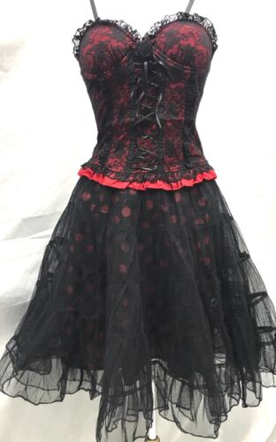 Gothic Steampunk 2pcs Victorian Lycra Lace Over Top /& Polka Rara Size SM10//12