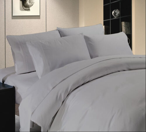 New Bedding Items 1000 TC Egyptian Cotton All US Size Silver Grey Solid.