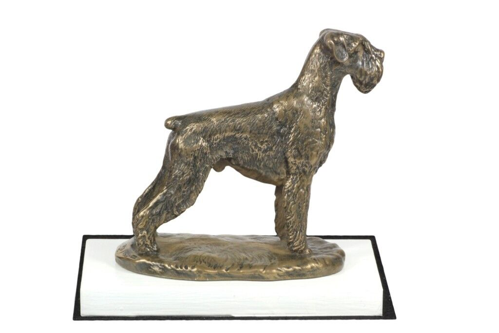 Schnauzer - figurine made of Bronze on the white wooden base, Art Dog