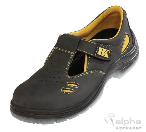 Safety Sandals Steel Toe Cap Shoes Work Anti Slip Oil Resistant Black  Knight. UK 4 (36)