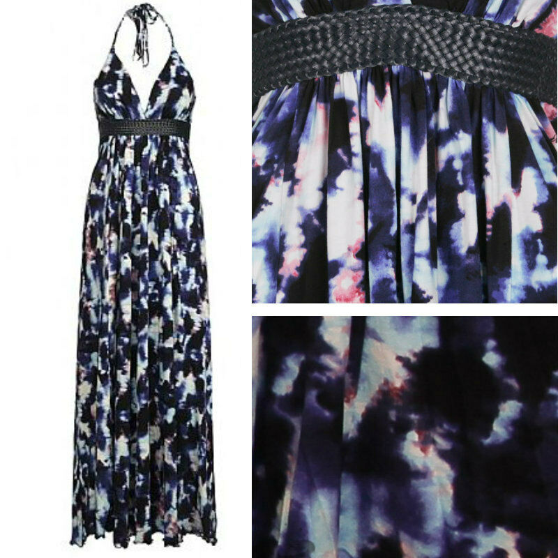 BRAND NEW FIRETRAP SUMMER Blau INK MAXI DRESS COMPLETELY SOLD OUT Small 8-10