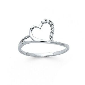 f146696ca Solid 14k White Gold Heart Ring CZ Love Band Fashion Style Curve ...