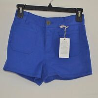 So Juniors Shorts Size 0 Cobalt Blue High Waist Flat Front Chino Shorts $32