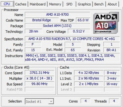 4 Core AMD A10-9700 Quad-core 3.50 GHz Processor Socket AM4 65W Retail Pack