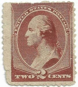 1883-US-SCOTT-210-Brown-Washington-Bust-Stamp-2C-Used-No-Cancel-No-Hinge-No-Gum